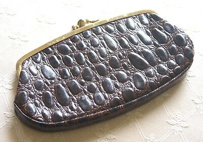 Vintage purse dark brown faux leather metal clasp
