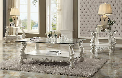 Magnificent Acme Versailles Coffee Table In Bone White And Clear Glass Machost Co Dining Chair Design Ideas Machostcouk
