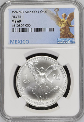 1992 Silver Mexico Libertad - NGC MS69 - Only 25 Graded this High - None Higher
