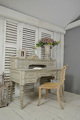 Antique French Shabby Chic 2 Tier Ornate Desk (Grey) - FREE UK DELIVERY!