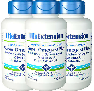 Life Extension Super Omega-3 Plus EPA/DHA w/ Sesame Lignans Olive Extract 3 Pack