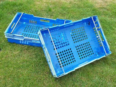 10 plastic stacking trays containers storage metal arm 45cm x 70cm x 14cm used