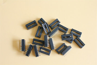 20Pcs 16 Pin IC Sockets Adaptors 2.54mm Pitch DIP Solder Type