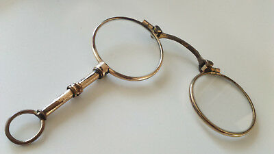 ANTIQUE MAGNIFYING READING GLASSES Lorgnette early 20th century gold plated