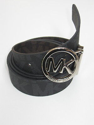 "Michael Kors Womens Belt""Riversible MK Print,Brown&Black"",Silv Cut-Out Logo Disk"