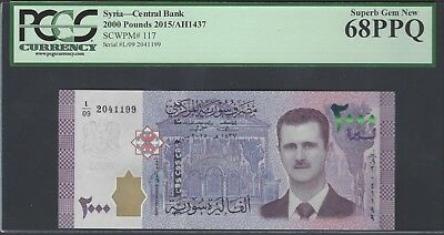 Syria Syrie 2000 Pounds 2015/AH1437 P117 Uncirculated Grade 68