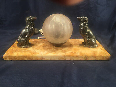 Antique French Art Deco Desk Lamp - Marble - 2 Dogs Coker