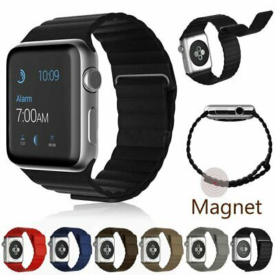 Genuine Leather Loop Magnetic Loop Strap Watch Band For Apple Watch Serie 3/2/1