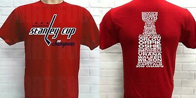Washington Capitals 2018 Stanley Cup Championship T-Shirt, Roster On Back *red*