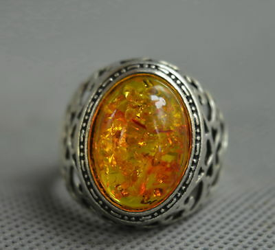 Collectable Handwork Decor Old Miao Silver Carve Flower Inlay Amber Lucky Ring