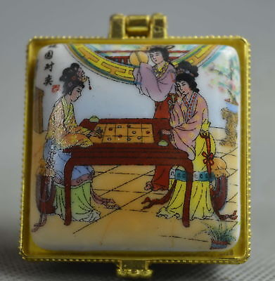Collection Handwork Porcelain Paint Classical belle & Scenery Lucky Jewelry Box