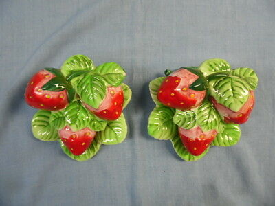Vintage Pair Porcelain Strawberry Wall Pockets #6839!