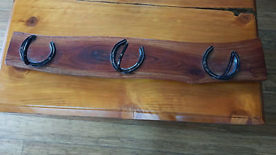 Rack wall mounted, 3 hook coat and hat hanger / rail holder, timber / horseshoes