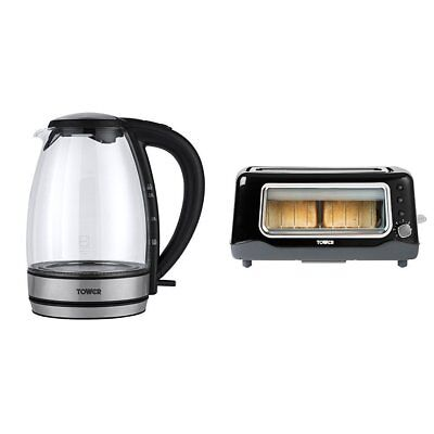 Tower Colour Changing LED Glass Kettle with 2 Slice Long Slot Glass Toaster Set