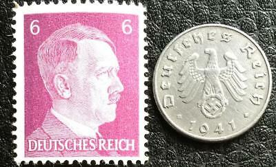 Rare WW2 German 5 Reichspfennig Coin & Unused 6Pf Stamp Authentic Artifacts