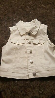 Girls White Denim Jean Cherokee Button Up Vest Sz 6 6x Exc Cond