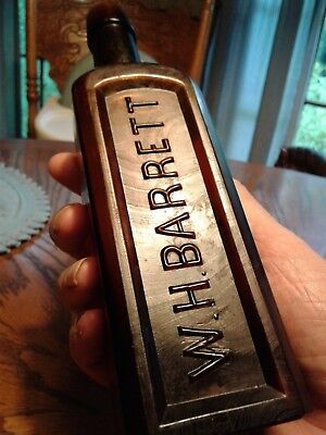 Antique scarce square shape Augusta,Ga bottle~W.H.Barrett // H. H. P.~amber,8.5""