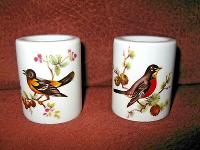 """2 Vintage Porcelain Candle Holders 2"""" Tall Bird Design Made in Germany"""