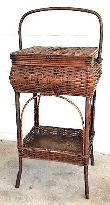 "Wicker Sewing Stand, Victorian, Heywood-Wakefield, natural color, c1900, 28""t"
