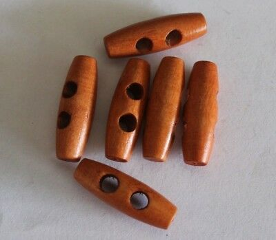 6 X 30 X 10 Mm  Olive Shape Wooden 2 Hole Toggle Sewing  Buttons