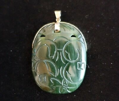 "Vintage Carved 2.25""x1.75"" Dark Green Jade Pendant on Sterling Silver Mounting"