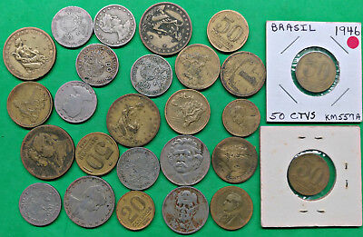 Lot of 25 Mixed Old Brazil Coins   South America !!