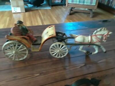 Vtg Cast Iron Horse Drawn Buggy Carriage With Driver