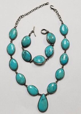 Barse Sterling Silver & Turquoise Necklace & Bracelet Set Jewelry #WB-BAR29H