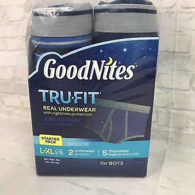 New Lot 2 Goodnites Trufit Real Underwear for Boys Starter Pack Size L-XL
