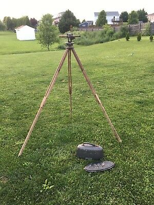 Antique Vintage THORPE-SMITH Instrument Co. Transit Level  Survey & WOOD STAND