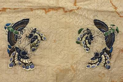 1900's Chinese Silk Embroidery Gauze Lace Panel Textile Tapestry Butterfly Sg