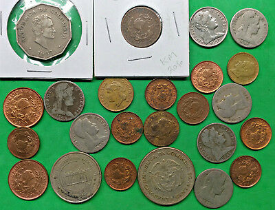 Lot of 24 Mixed Old Colombia Coins   South America !!