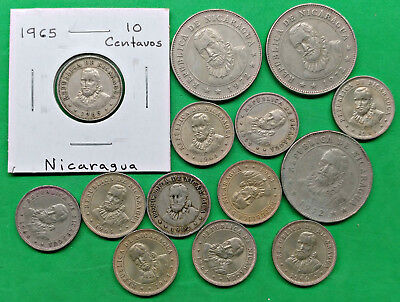 Lot of 14 Mixed Old Nicaragua Coins Central America !!