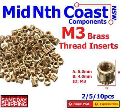 2-20pc M3 x 5mm Brass Threaded Inserts Press Fit Hot Nutz For 3D Printing & DIY