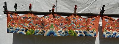 1930's Chinese Silk Embroidery 2 Robe Skirt Band Panel Dragon Textile 96 CM