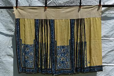 1900's Chinese Silk Embroidery Yellow Ground Blue Flowers Lady's Skirt