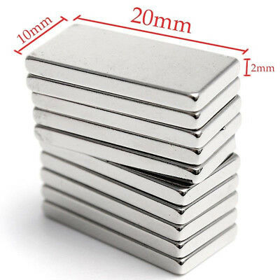 Lot 5-50pcs N50 20x10x2mm Neodymium Block Magnet Super Strong Rare Earth Magnets