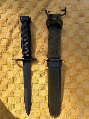 US Military M7 Knife Bayonet with Scabbard Vietnam BOC, Blade appears factory