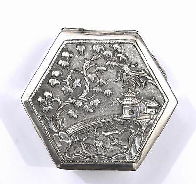 1930's Chinese Sterling Silver Repousse Hex Box Landscape Shou Calligraphy Mk