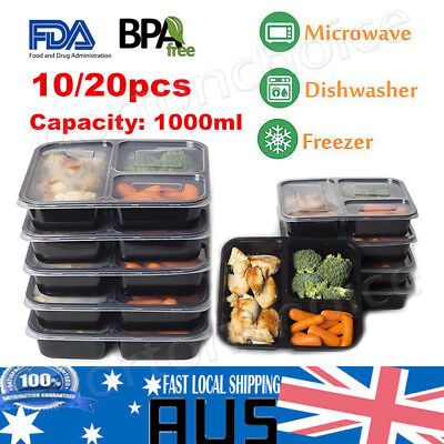 10/20 Microwavable 3 Compartment Reusable Lunch Box Bento Food Storage Container