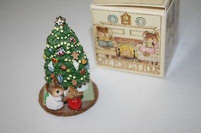 Wee Forest Folk M123 UNDER THE CHRIS MOUSE TREE Mice WFF miniature Christmas