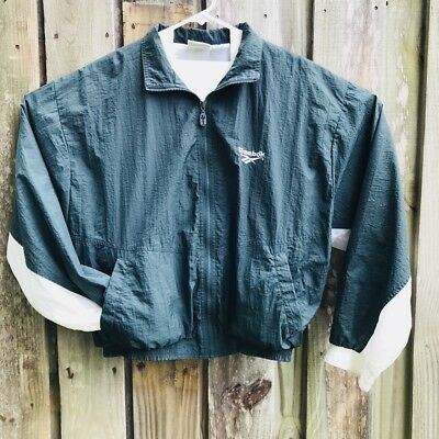 Vintage 90's Reebok Big Logo Windbreaker Men's Green White Size Medium