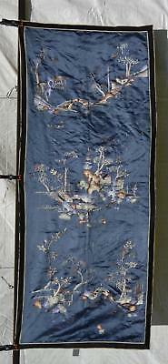 1930's Chinese Blue Silk Embroidery Panel Textile Tapestry Landscape 165 CM