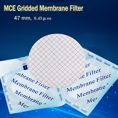 100pc/pk MCE Filter Gridded Membrane Sterile Microorganism Cleansing 47mm/0.45μm
