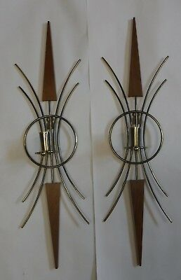 Pair MCM Wall Sconces Candle Holders Match For Westclox Starburst Clock