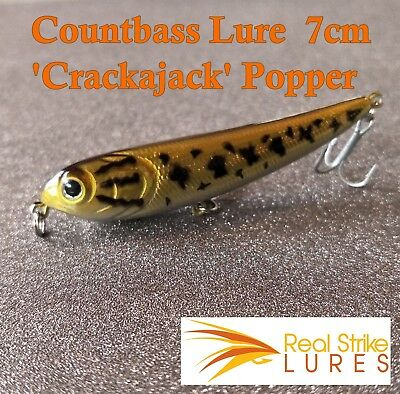 Countbass Fishing lures 'Crackajack' Popper Bream Bass Trout Yellowbelly Topw...