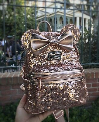 Disney Parks - Rose Gold Minnie Mouse Sequined Backpack (Loungefly) NEW