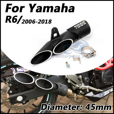 For Yamaha YZF R6 2006~2018 Double outlet exhaust muffler pipe Slip on 45mm