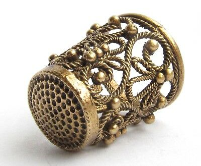 Thimble Openwork Delicate Flowers Solid Brass Metal Russian Souvenir Collection