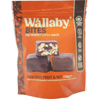 3x Wallaby Bites Dark Chocolate Fruit Nut 150g